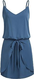 GRACE KARIN Women Floral Print Dress Spaghetti Strap V Neck Mini Dress