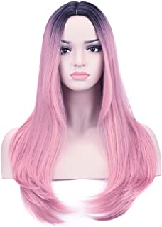 YOPO Ombre Pink Wigs Straight 26'' Long Middle Part Wig Dark Roots 2 Tones Wig No Bangs for Women Girl