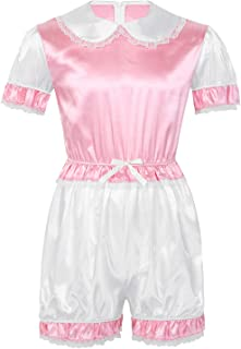 CHICTRY Men Sissy Silky Short Puff Sleeves Trimmed Lace Romper Adult Baby Cross Dresser Costume