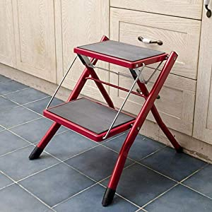 ZDYUY Folding stool  Wrought iron two-tiered stool  Stair stool  Folding portable stool  Shoe exchange bench  Forged steel folding chair Folding double chair  color