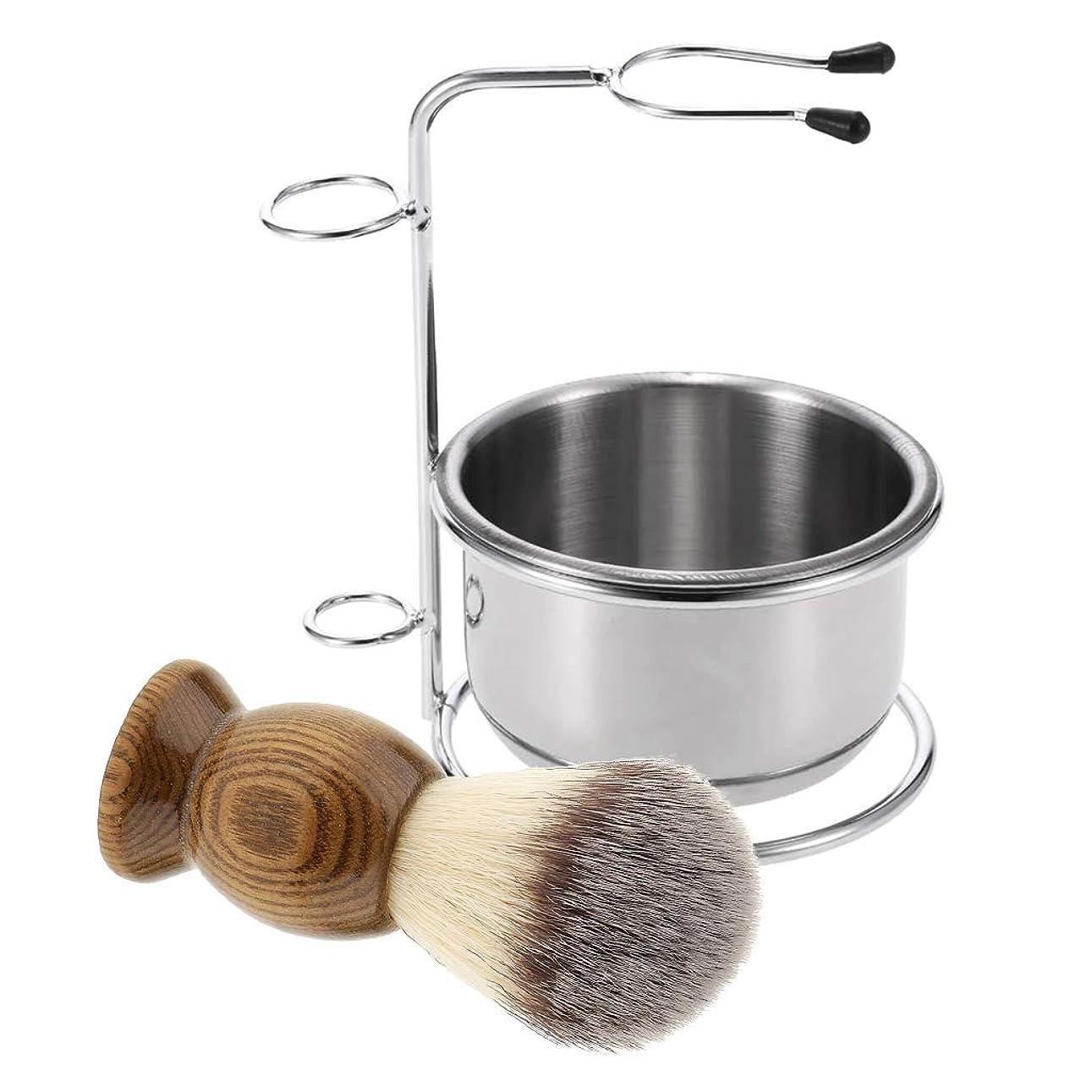 人間粉砕するレディD DOLITY 3点セット 髭剃り シェービングキット ブラシ+ボウル+ブラシホルダー サロン 美容室
