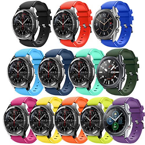 Smart Watch Band Compatible with Samsung Gear S3 Frontier/ Classic/Galaxy Watch 46MM ,12 Pack HMJ Band 22mm Soft Replacement Sport Bracelet Strap for Gear S3 Frontier / Classic /Moto 360 2 2nd Men