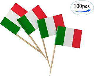 JBCD Italy Flag Italian Flags,100 Pcs Cupcake Toppers Flag, Country Toothpick Flag,Small Mini Stick Flags Picks Party Decoration Celebration Cocktail Food Bar Cake Flags