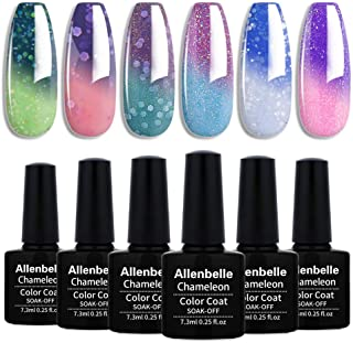 Allenbelle Esmaltes Permanentes Para Uñas Nail Art Soak Off UV LED Esmalte Permanente de gel (Lot 4 pcs 7.3MLpc) 013