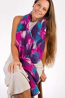 Sciarpa da donna. Sciarpa in lana merino e seta naturale ideale per l'autunno, l'inverno e la primavera. Regalo perfetto p...