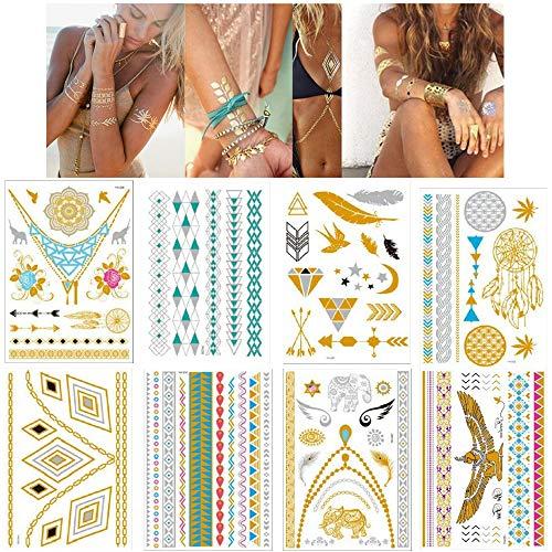 Lezed Tatuajes Dorados Temporales Fake Tattoo Impermeables Tatuajes Falsos Adesivo Tatuaggi Tattoo...