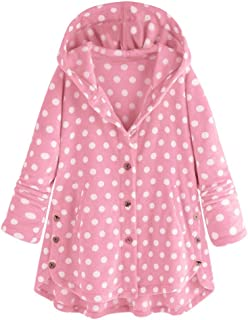 CANAFA Fashion Women Button Coat Tops Dot Hooded Pullover Loose Sweater Blouse
