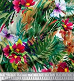 Soimoi Grun Samt Stoff Blätter & Blumen Textur Drucken