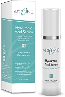 Hyaluronic Acid Serum for Skin - Vitamin A, C, D, E, Retinol, Witch Hazel, Aloe, 1.5% HA, Reduce Wrinkles, Anti-Aging, Hydrate & Moisturize Dry Dull Skin, No Parabens, Natural, Made in USA by Adeline