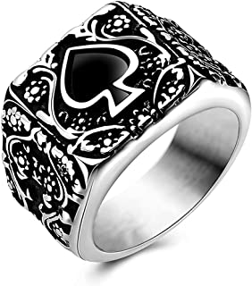 JAJAFOOK Jewelry Men's Stainless Steel Rings, Ace of Spades Gothic Skeleton Biker Tribe Retro Bands