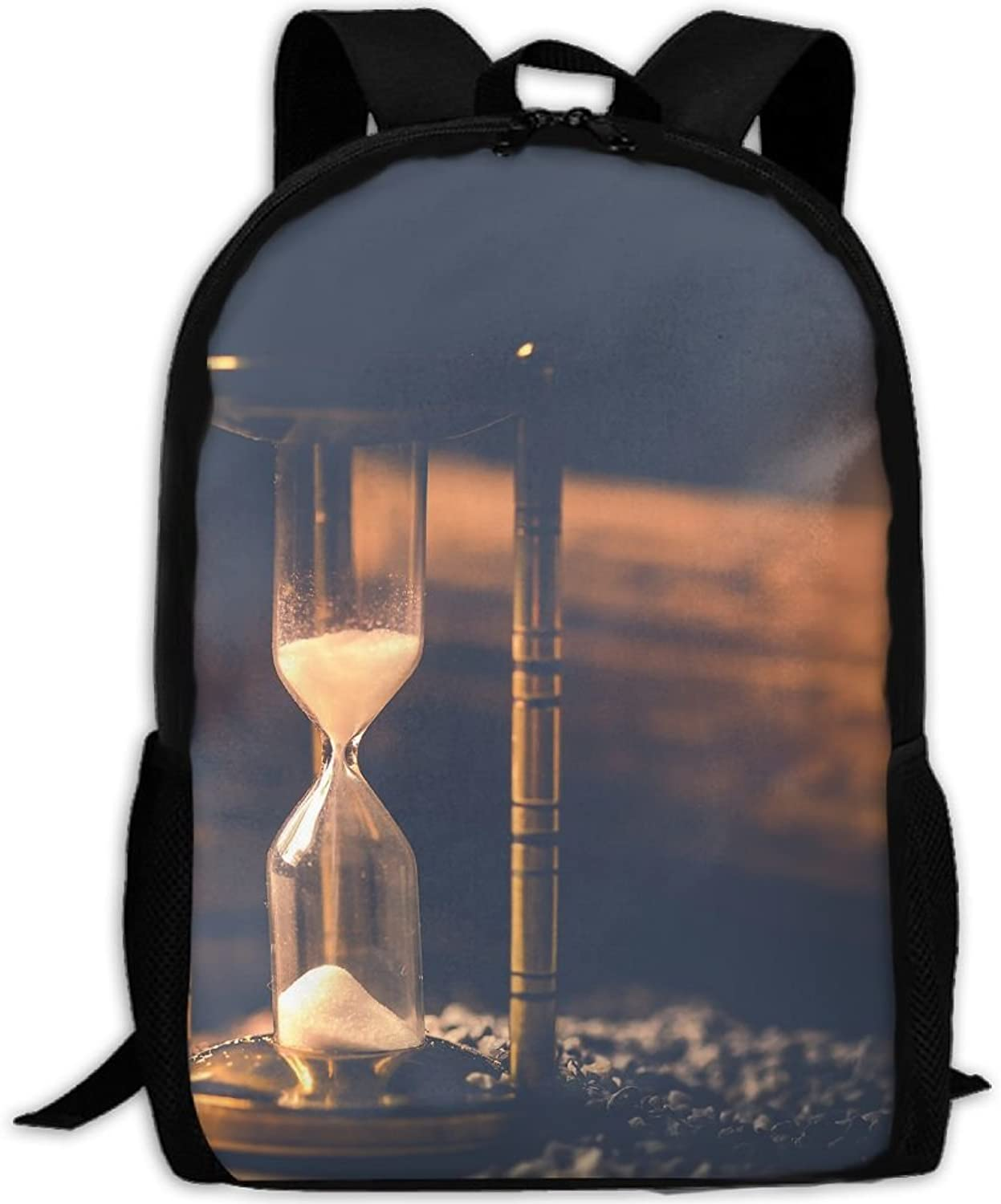Adult Backpack Time Funnel Hourglass College Daypack Oxford Bag Unisex Business Travel Sports Bag with Adjustable Strap