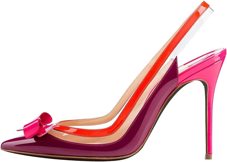 Joogo Women's Fashion Bowknot Pointed Toe Splice Hollow Upper High Slim Heel Pumps