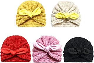 Zando   Baby Turban Headwraps Newborn Hospital Hats Soft Bow Infant Toddler Cap 5 Pack / 0-12 Month One Size