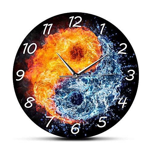 Rgzqrq Fuego y Agua Yin Yang Balance Reloj de Pared Yoga Diseño Moderno Deportes silenciosos Decoración del hogar Espíritu Tai Chi Arte de Pared 12 Pulgadas