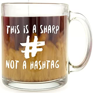 This is a Sharp, Not a Hashtag Glass Coffee Mug - Makes a Great Gift for Musicians!