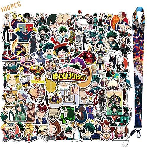 100 pegatinas de My Hero Academia + 1 cordón de pegatinas de anime para niños, adolescentes, adultos, monopatín, botellas de agua, equipaje, ordenador portátil