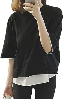 [モノア] Tシャツ カットソー レディース ファッション 重ね着風 半袖 レイヤード シャツ 無地 トップス