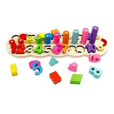 GEDIAO Wooden Montessori Math Blocks Shape Sort...