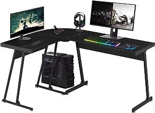 Symylife Bureau en Forme de L, Bureau d'angle d'ordinateur de Jeu PC Studio Table de Travail pour Bureau à Domicile, 147 c...