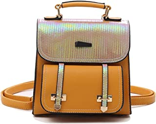Fashion Cute Mini Square Backpack Pu Daypacks Fashion Small Daypacks Purse for Girls and Women (Color : Yellow, Size : 21 * 8 * 22cm)