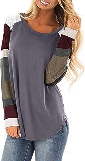 Asvivid Womens Casual Color Block Long Sleeve Pullover Tops Loose Lightweight Tunic Sweatshirt