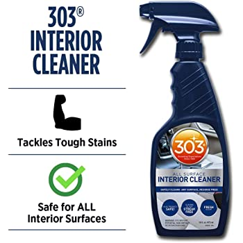 303 (30588CSR) Products Automotive All Surface Interior Cleaner - Safely Cleans Any Surface, Residue Free - Electronic Safe - Fresh Scent - Cleans Glass Streak Free, 16 fl. oz.