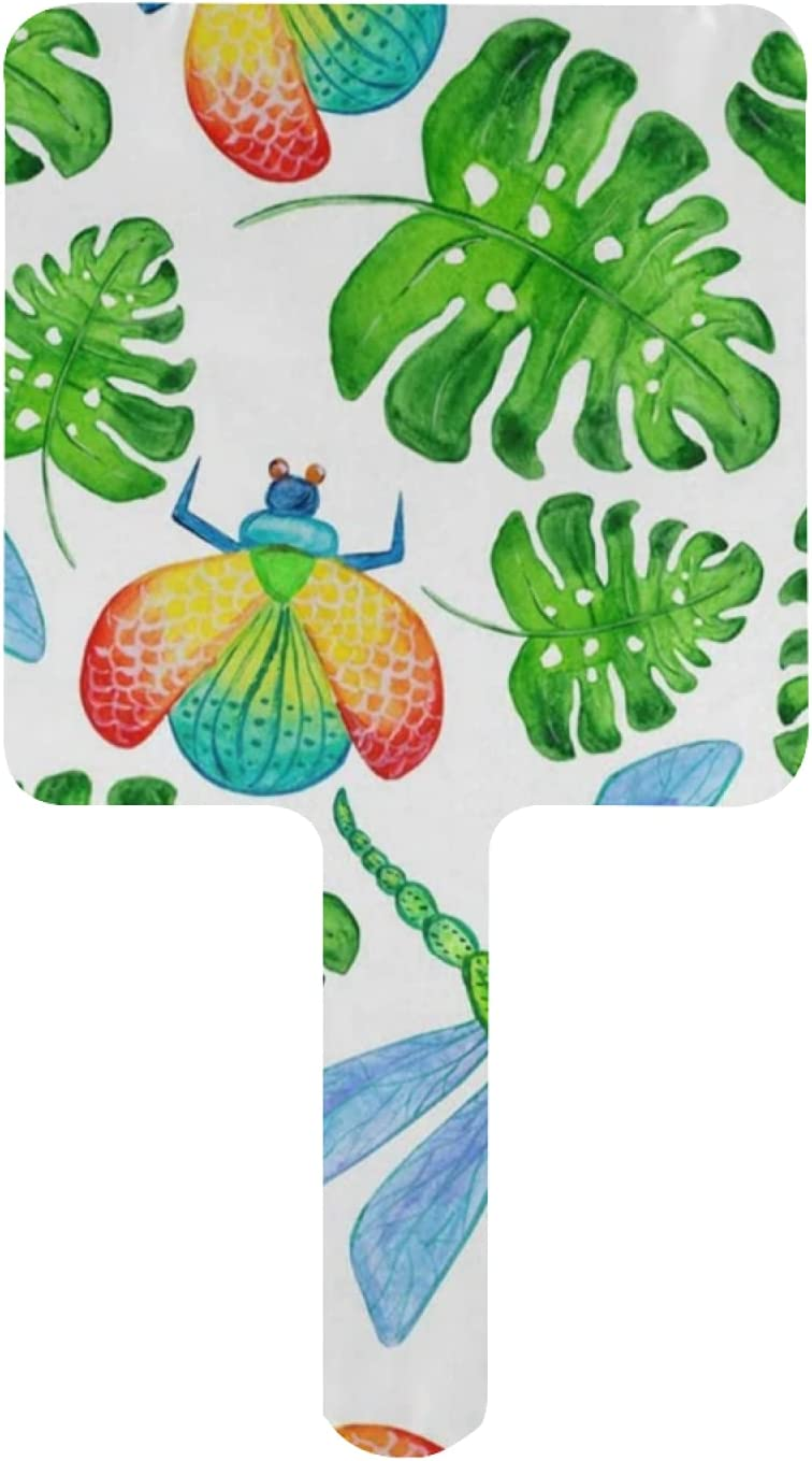 Hand 2021new shipping free shipping Mirror Spring Beetles Sale item Dragonfly Mirrors Handheld Palm Leaf