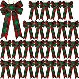 Aneco 24 Pack Christmas Hanging Ribbon Bows Buffalo Plaid Small Sizes Christmas Bows for Festival DIY Decoration Supplies, 5 x 7 Inches