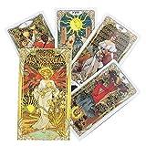 Cartas del Tarot, Tarot Art Nouveau de Oro Tarjetas de Cubierta 78-Baraja Cartas del Tarot Set, Cartas de Tarot para Principiantes Set (Inglés) Tarjetas, Tarot Tarjetas de Juego