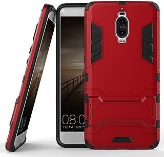جراب لهاتف Huawei Mate 9 Pro (5.5 بوصة) 2 في 1 مقاوم للصدمات مع ميزة مسند غطاء واقٍ هجين مزدوج الطبقات احمر