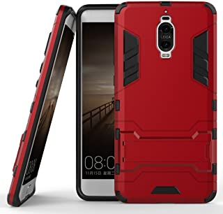 Case for Huawei Mate 9 Pro (5.5 inch) 2 in 1 Shockproof with Kickstand Feature Hybrid Dual Layer Armor Defender Protective Cover (Red)