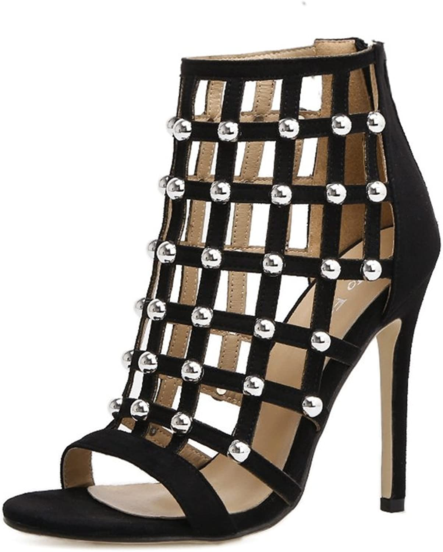 Kaitzen Women's Sandals Peep Toe Crystal shoes Ladies Ankle Strap Fashion High Heels Stiletto Court Boots Fashion Pump Evening Party