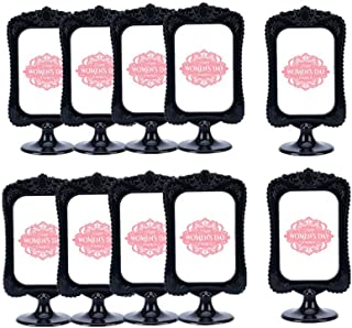 Leoyoubei Pack of 10 Vertical Stand Photo Frame Double Sided Sign Display Holder Each Frame Holds 2 Pictures 4x6,menu Box/Specimen Framework/Price tag/Culture Card/Ornaments Exhibition(Lace Black)