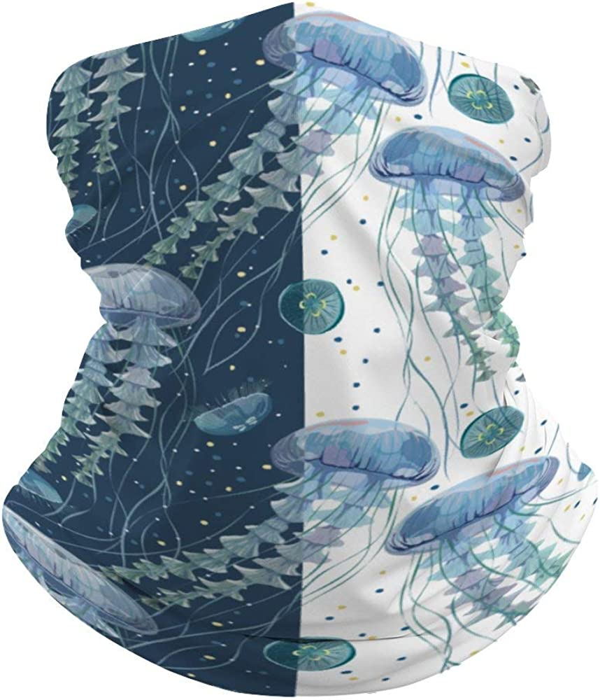 Color Jellyfish Aquatic Plants Neck Gaiter Face Cover Scarf Breathable Summer Cooling Seamless Bandana Wrap Face Mask - Women & Men for Dust,Outdoor,Festivals,Sports