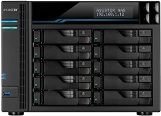 ASUSTOR LOCKERSTOR 10 AS6510T|ビジネス・法人向けNAS|10ベイ NASキット|intel Atom クアッドコア CPU, 8GB RAM, 2x M.2 NvMe SATA SSD slot, 2x 2.5Gb...