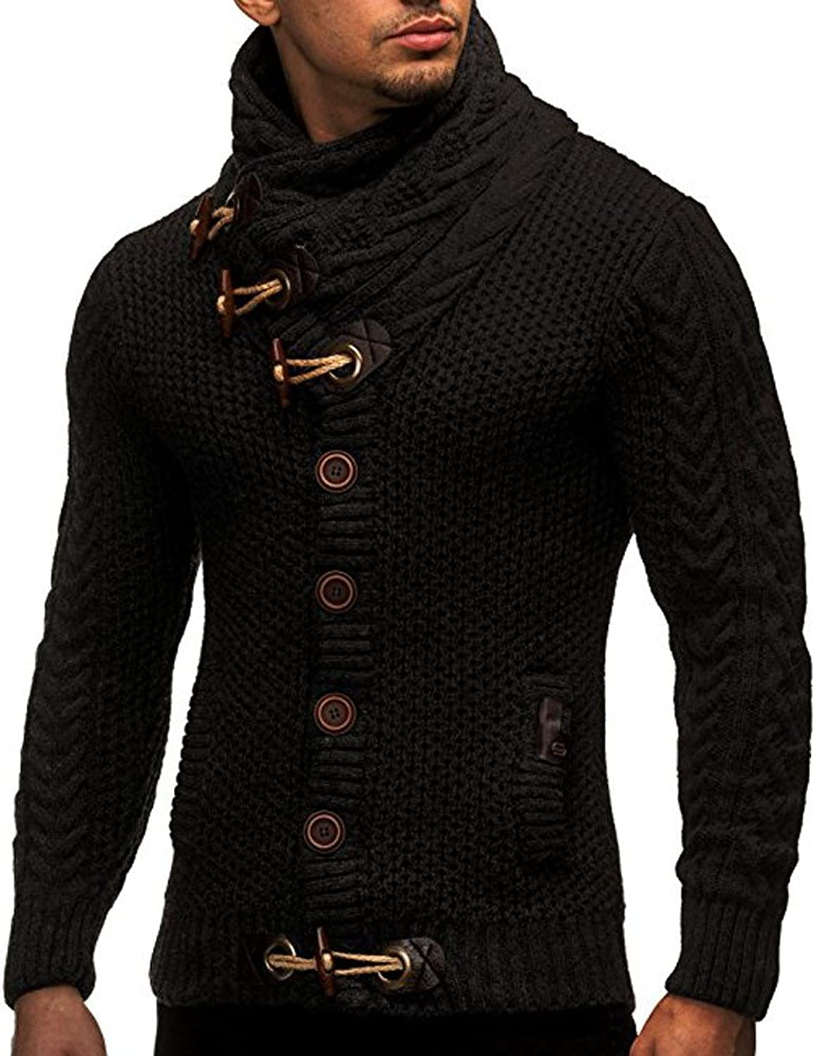 Ximandi Men Autumn Winter Casual Cardigan Sweater Coat Knitting Button High Collar Jacket