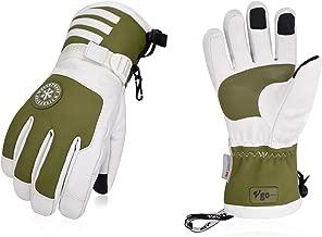 Vgo 2Pairs Touchscreen Goatskin Leather Winter Warm Skiing Gloves for Ladies', Waterproof Insert (Dark Green, SF-GA2446FW)