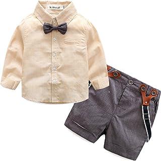 c54b27823 Kimocat Baby Boy Summer Gentleman Shirt Long Sleev +Bowknot+ Shorts with Suspender  Straps Outfits