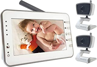 Video Baby Monitor with 2 Cameras, 4.3 Inches Large Screen by Moonybaby, Non-WiFi, Power Saving, VOX, Voice Activation, Auto Night Vision, Temperature Monitoring, 2-Way Talk Back, Long Battery Life