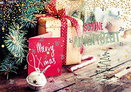 PremiumLine Weihnachtskarte • Interaktiver DIN A5 Adventskalender mit 24 QR Codes • Rezepte einfach Kochen und Backen für die Adventszeit • Grußkarte Klappkarte Adventskalenderkarte
