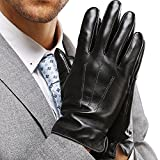 Leather Gloves for Mens Full-Hand Touchscreen Gift Packaging Cold Weather Glove (L-8.9'(US Standard Size), BLACK)