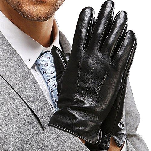 FLY HAWK warm gefütterte Handschuhe aus Echtem Leder Herren Lederhandschuhe für Touch Screen geeignet, M = 8,5 inches- Mittelfinger = 3,35 inches, Schwarz-b