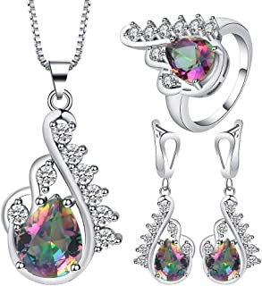 VPbao Pendant Stainless Steel Silver Plated Necklace Earrings Ring Jewellery Sets Multicolor