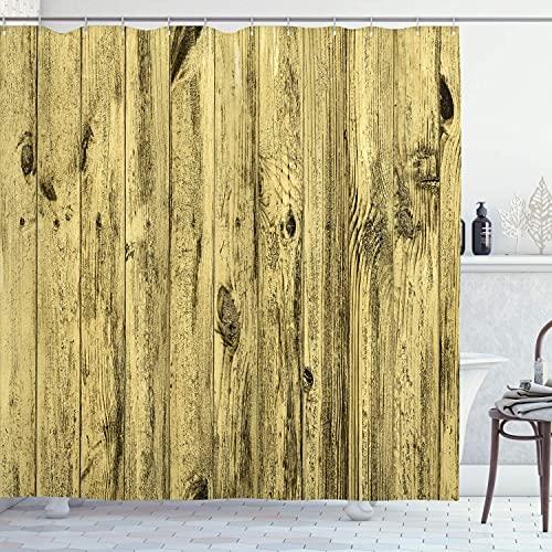 N \ A Cortina de ducha de color turquesa, fondo de textura de madera turquesa y estampado de muebles de madera antigua, tela de tela para baño con ganchos, 152 x 183 cm, verde azulado