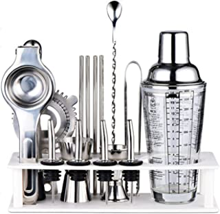 17 Piece Bartender Kit Bar Tool Cocktail Shaker Set,With Bar Accessories,Stand,Stainless Steel Martini Mixer,Drink Mixing ...
