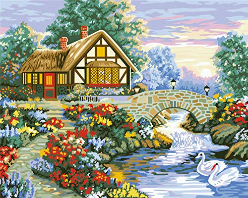 WEKUW Paint by Numbers Kits Diy Acrylic Painting Kit Flowerbed Cottage With Brushes and Pigment Arts Craft Canvas Painting for Kids & Adults,(Frameless) 16 X 20 inch