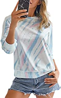 Miracle Womens Fashion Long Sleeve Round Neck T-Shirts Color Block Striped Causal Blouses Tee