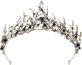 BETOY Corona Principessa Capelli Vintage, Perla diadema Foglia Oro Fatto a Mano, Accessorio per Capelli diadema da Sposa C...