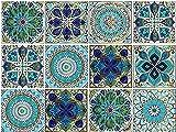 Mandala Style 12Pcs (6x6 inch) Tile Stickers, Peel and Stick Self Adhesive Removable Moroccan Talavera Tiles Backsplash Waterproof Kitchen Bathroom Furniture Staircase Home Decor