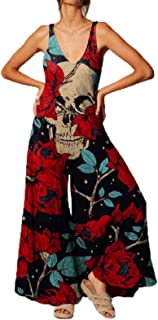 Keepwo Women's Printed Jumpsuit Casual Loose Sleeveless Overalls Jumpsuit Skull Rose Overalls